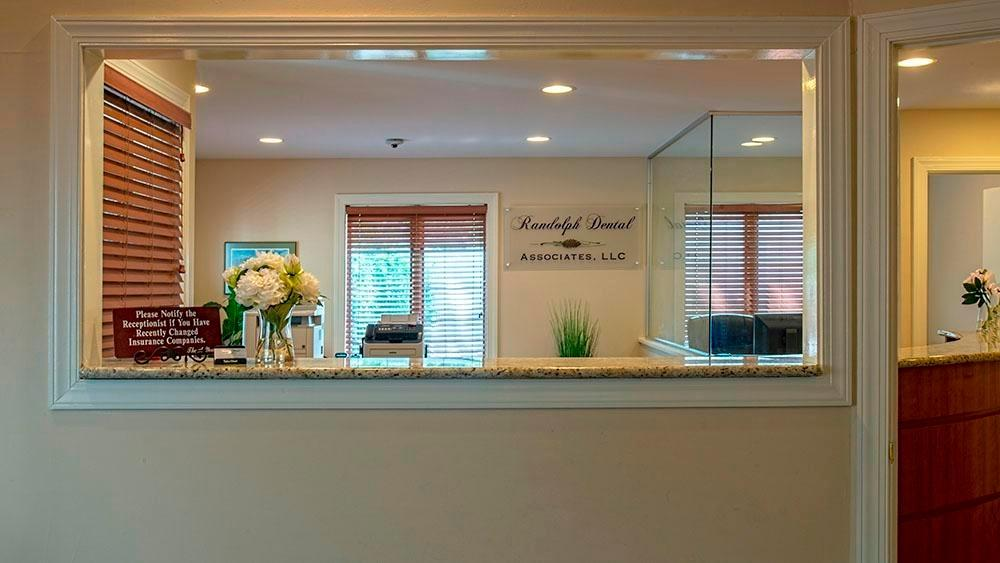 front desk area at randolph dental associates